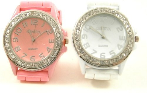 rose-cristal-lot-de-2genve-blanc-grand-visage-montre-en-silicone-avec-strass-bracelet