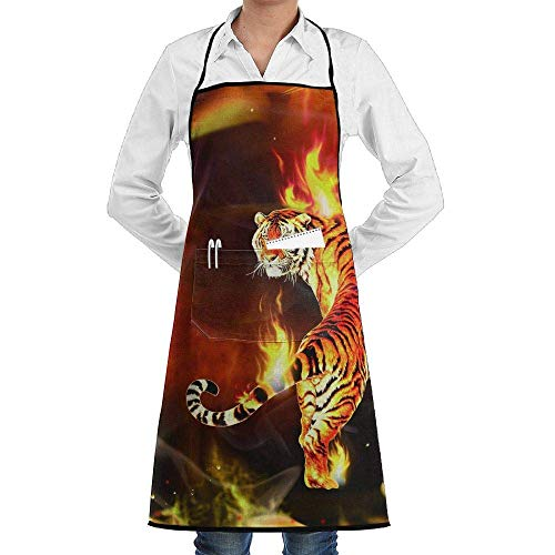 Drempad Premium Unisex Schürzen, Fire Tiger Flame Faction Unisex Kitchen Cooking Garden Apron,Convenient Adjustable Sewing Pocket Waterproof Chef Aprons -