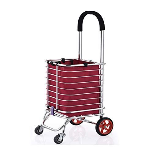 XF Einkaufstrolleys Portable Trolley ~ Einkaufswagen Essen kaufen Kleinwagen Faltbare Treppe Hand Warenkorb Haushalt Portable Basket Trailer Cart (´。•ᵕ•。`) (Farbe : B, größe : 93 * 31 * 39cm)