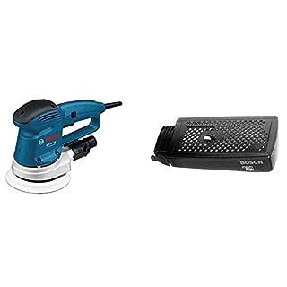 Bosch Professional GEX 150 AC Exzenterschleifer, 150 mm Schleifteller, 340 W + Bosch Zubehör 2605411147 Staubbox zu HW3 kpl.
