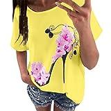 OVERDOSE Frauen Kurzarm Blumen Pumps Gedruckt Tops Strand Beiläufige Lose Bluse Top T-Shirt (EU-42/CN-XL, X-f-gelb)
