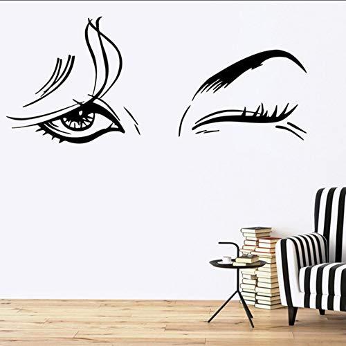 Wuyyii 30X72 Cm Schöne Womanvinyl Aufkleber Schönheitssalon Weibliche Augen Make-Up Mädchen Wandaufkleber Abnehmbare Kunstwandgemälde Für Schlafzimmer