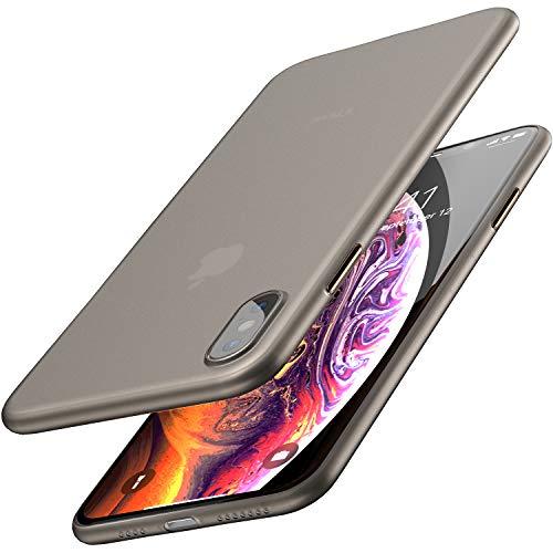 TOZO Funda para iPhone XS MAX, 6,5 Inch (2018) PP [0,35mm] Ultra Delgada Más Fina del Mundo Proteger El Estuche Rígido [Semi Transparente] Ligero Protective Carcasa Case Cover [Negro Mate]