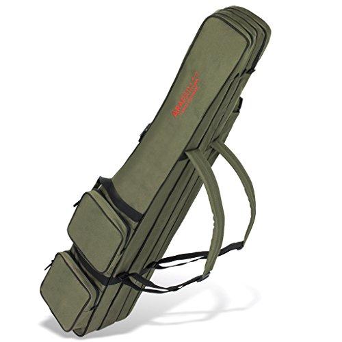 Allround Rutentasche Angeln Tasche mit 3 Innenfächern für Angelruten, Kescher und Rutenhalter