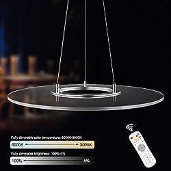 KLARS Lámpara colgante 36W ronda regulable LED Moderna Lámpara de Techo Panel LED Iluminación colgante, altura de la suspensión máximo de 150cm Ajustable DIY Temperatura de color 3000K-6000K ,Iluminación de techo para oficina mesa de comedor sala de estar Luz de techo