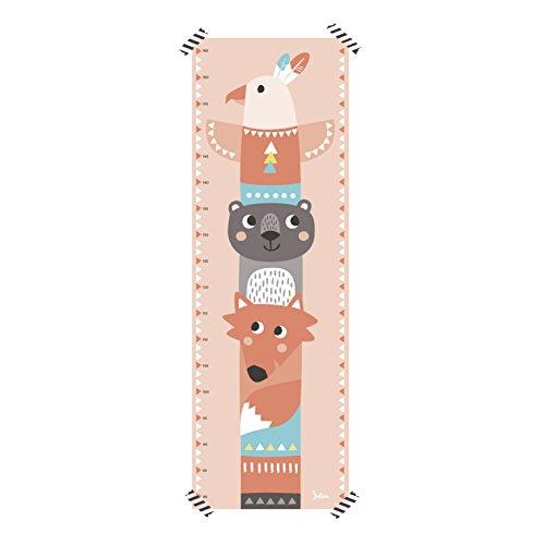 Messlatte Kinderzimmer Totem | Indianer Motiv | Kinder Größe messen | Papier | Super zum Beschriften | Für Mädchen (Rosa)
