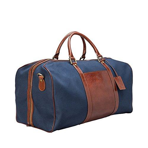 Maxwell Scott Bags® Dunkelblaue / Braune Canvas Leder Reisetasche