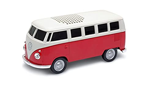 AutoDrive VW Bus T1 Bulli Bluetooth Speaker with Battery, Red + AUX Micro USB Connection