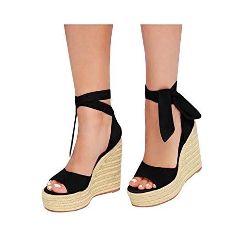 Summer Shoes Woman Espadrilles Wedges Lace Up Sandals Zapatos De Mujer Platform Sandals Peep Toe Heel Buckle Strap Sandals Black 4.5 Patent Sling Strap Peep Toe