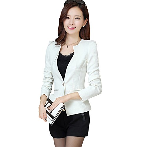 BOBORA Donna Giacca Sportiva Sottile Coat Casual Jacket Long Sleeve One Button Suit