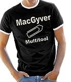 MacGyver - Multitool Kontrast / Ringer T-Shirt Black/Silver, L