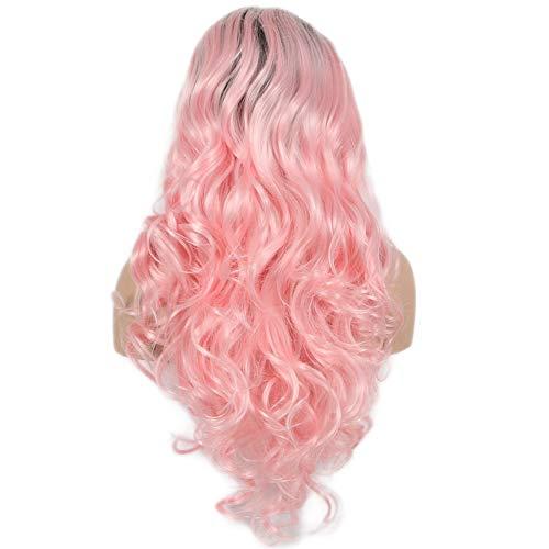 Peluca de sirena Ombre color rosa bebé, peluca de raíces oscuras sintéticas con encaje frontal, pelucas...