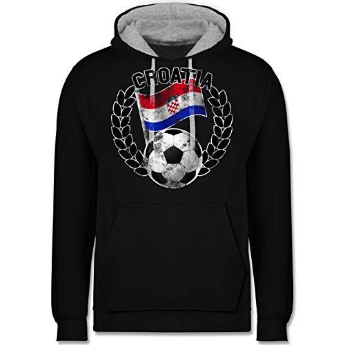 Fußball-WM 2018 - Russland - Croatia Flagge & Fußball Vintage - Kontrast Hoodie Schwarz/Grau Meliert
