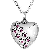 Korliya Corazón Amor Mascota huellas Urna Collar para cenizas Memorial Recuerdo Colgante Cremación Joyería