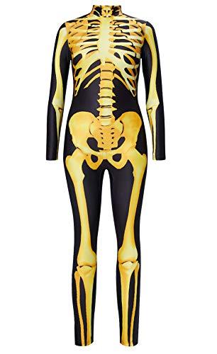 Zombie Kostüm Hot - RAISEVERN Frauen Halloween Jumpsuit Hot Printed Skeleton Kostüm Scary Catsuit Sexiest Gold Schädel Full Bodysuit Zombie Scary Jumpsuit für Cosplay Party für Jugendliche Mädchen