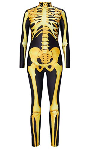 Kostüm Kreativ Frauen Halloween - RAISEVERN Frauen Halloween Jumpsuit Print 3D Digital gedruckt Skeleton Outfit Kostüm Schwarz Gold Schädel Langarm Neuheit Lustige Haut Engen Body Kreative Ganzkörper Jumpsuit