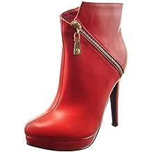 Sopily - Zapatillas de Moda Botines zapatillas de plataforma Tobillo mujer cremallera Talón Tacón ancho alto 12.5 CM - plantilla sintética - forradas en piel - Rojo