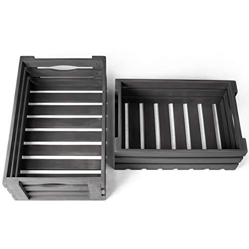 Vanage Holzkiste für Obst und Gemüse   2er Set   Aufbewahrungskisten aus Akazienholz geölt   Kiste für den Garten, Apfelkiste oder Kartoffelkiste brauchbar in grau