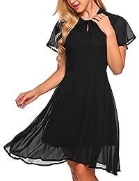 77d825d0e025 Zeagoo Damen Elegant Chiffonkleid Sommerkleid Partykleid Hochzeit  Festliches Kleid A Linie Kurzarm Knielang, Schwarz,