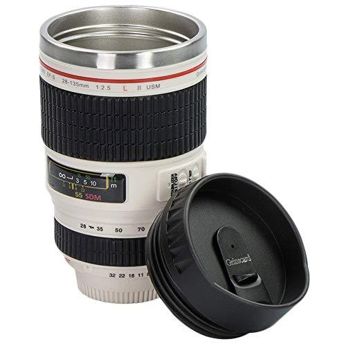 Lispeed Kaffeetasse Kamera-Objektiv-Kaffeetassen Becher Tasse mit Deckel-Edelstahl-Trommel-Schale Auslaufsicherer breiter Mund