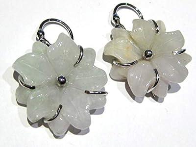 boucles d'oreilles jade fleur argent 925%