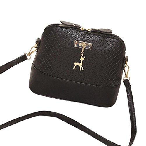Koly Borse Messenger Donna Mini sacchetto di modo Borsa a forma di Shell di Deer Toy Borse a tracolla (Black) Black