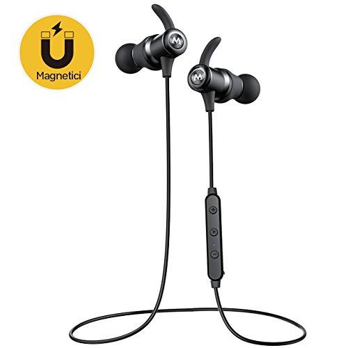 Mpow Auricolari Bluetooth 4.1 Magnetici S6, Auricolari IPX6 Impermeabile Wireless con AptX e CVC 6.0, Auricolari in-Ear Sport Stereo con Microfono