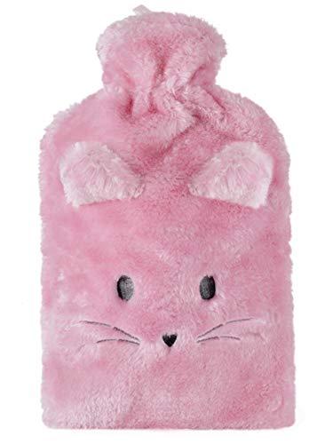 Plüsch niedliche Tier 2 Lt Wärmflasche und Deckel - rosa Katze