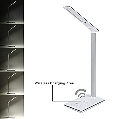 Tsing LED Desk Table Lamp with Touch Control, 4 Lighting Modes, Eye-care for Children, QI Wireless Charging Function - White - cheap UK light shop.