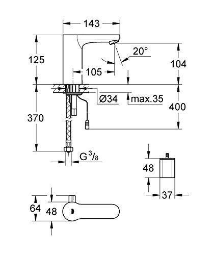 Grohe – Infrarot-Waschtisch-Sensorarmatur, Temperaturregler, mit Batterieversorgung, Chrom, Eurosmart CE - 2