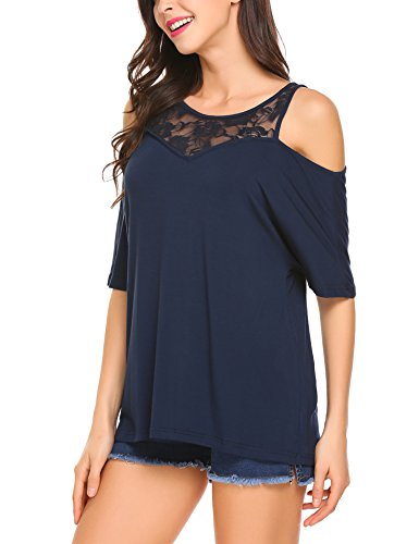 Parabler Damen T-Shirt Sommershirt Bluse Tops Schulterfrei Cut Out Kurzarm mit Spitzen Navy Blau