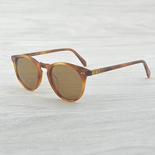 LKVNHP Retro Vintage Sonnenbrillen Designer Damen Herren Polarisierte Sonnenbrillen Sir O'Malley Male Driving Outdoor SonnenbrilleAmber Vs Brown