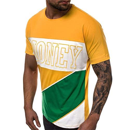 9351870842b Camisetas Hombre de Manga Corta para Hombre Moda Estampado Cartas Cuello  Redondo Tops de Hombre Cómodo