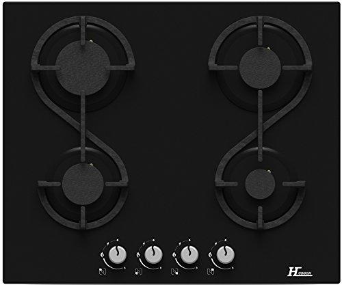 Hudson Table Plaque de Cuisson 4 feux Gaz - HTG 4 VN - à encaster - Design moderne Verre Noir - très haute résistance (580 x 510 x 40 mm),