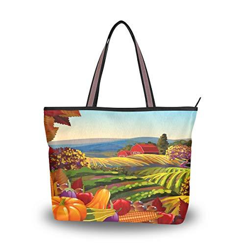 Emoya Damen Schultertasche Harvest Herbst Country Landscape Top Handle Satchel Handtasche L, Mehrfarbig - multi - Größe: Large -
