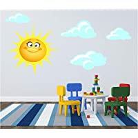 Red Parrot Graphics Sun and Clouds Kids Children Bedroom Nursery Sticker Print Decal Transfer (Large (see description))