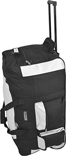 Reisetasche mit 3 Rollen 115 l XXL Eine robust verarbeitete Reisetasche mit ausziehbarem Trolleygriff und großen Rollen. Schwarz/Weiß / 80 Liter