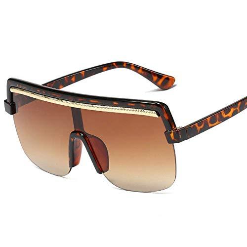 Lisa旗舰店 Sonnenbrillen Europa und die Vereinigten Staaten Fashion Large Frame Siamese Sonnenbrillen Damen Large Hinge Metallkette Sonnenbrillen Herrenbrillen,6