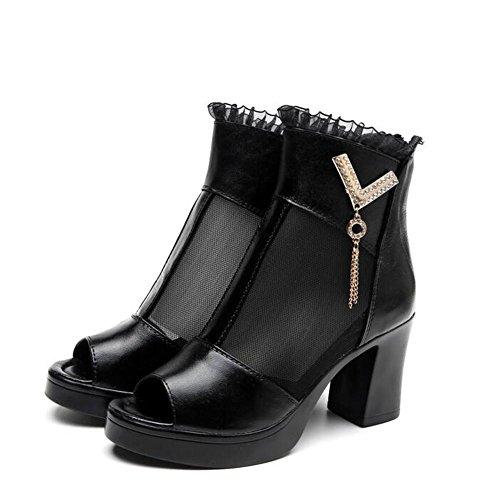 L@YC Frauen High Heel Schuhe Chunky Fersen Leder Casual Breathable Fisch Sandalen / Schwarz Black