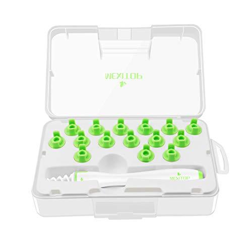 Ohrenreiniger Ohrenschmalz Entferner Ohrwachs Entfernungs Ohr Schmalz Reiniger Spiralreinigungssystem mit 16 entfernbaren Silikon- Aufsätzen für Kleinkinder, Babies, Jugendliche und Erwachsene + Extra Ohrenstopfer zur Soundverringeringerung (grün)