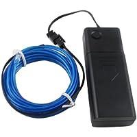 Lerway 3M Fil Neon Flexible EL Wire Lumière, LED Cable Lampes avec Boite a Pile pour Club, Parti de Noel, Fete, Decoration de Voiture/Velo/Bar/Deco/Cuisine- Bleu