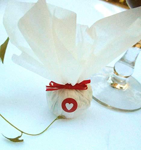 Die Seedball-Manufaktur Seedball Gastgeschenk mit Herz, erdbeer Weißes Seidenpapier mit rotem Bastband 2,5 x 2,5 x 6 cm (Bezahlung Für Artikel In Den Warenkorb)