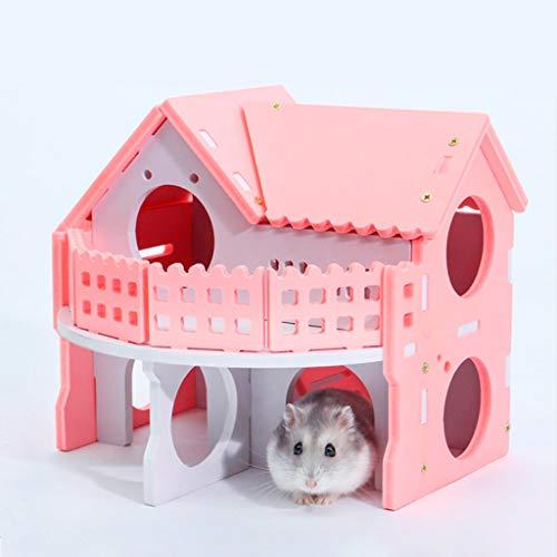 Autone Haustierhaus Villa Doppelschichtiges Balkonnest Spielversteck Schlafplatz aus Holz für Hamster, Eichhörnchen, Chinchilla, Meerschweinchen