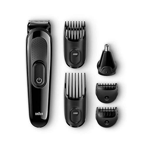 Braun MGK3020 Set de Afeitado Multifunción con Recortadora Barba y Cabello 6 en 1, Negro