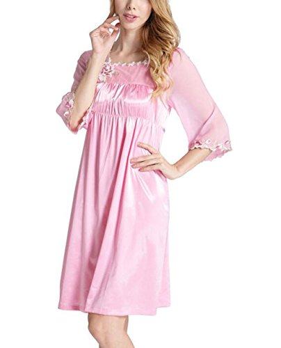 SZXC Frauen Langarm Pyjama Sexy Pyjamas Elegante Stickerei Seide Schlaf Rock , pink , 175 (Girl Kimono Kostüm Hell)