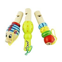 Isuper Fischio di Animale in Legno fischio precoce Strumento educativo per Il Bambino (1pc / Colore Casuale)