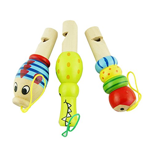 Isuper Holz Pfeife Spielzeug, Cartoon Tiere Pfeife Musikinstrument Spielzeug für Kinder ab 18 Monaten, Zufällige Farbe