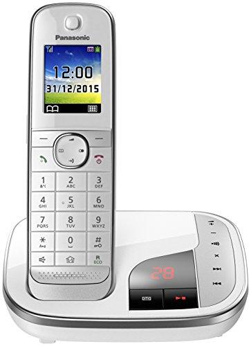 Panasonic KX-TGJ320GW Familien-Telefon mit Anrufbeantworter/ DECT Basisstation, schnurloses Telefon, strahlungsarm, weiß (Wand-schnurlos-telefon)