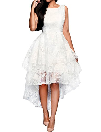 Barbella Women's Bridal Gown Floral Sleeveless Multi Layer High Low Wedding Dress, Label S=UK 8-10