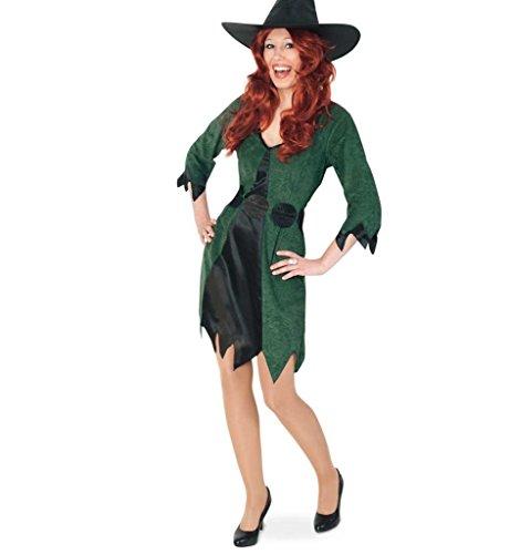 KarnevalsTeufel Damen-Kostüm Waldhexe kurz mit Gürtel Hexe Kleid Halloween grün-schwarz Walpurgisnacht Geisterstunde ()